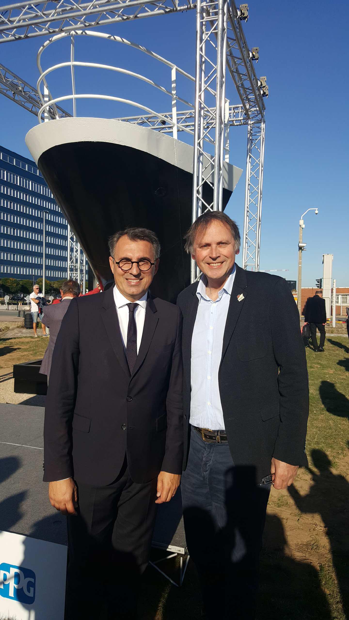 Nez du FRANCE au Havre avec Didier Spade et le Maire